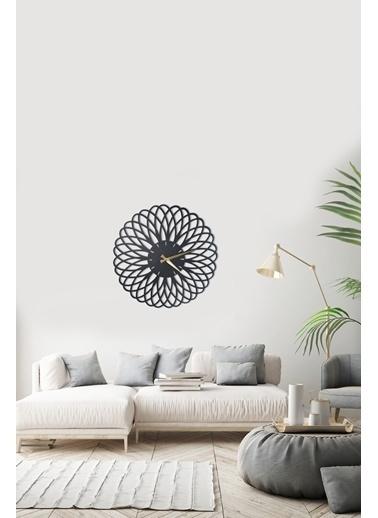 Angemiel Home Çiçek Metal Duvar Saati Siyah